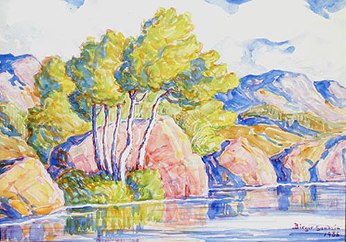 Birger Sandzen - Smoky River Watercolor